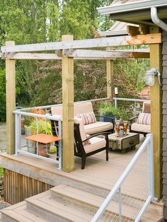 Deck Landscaping Ideas - the beaded board at the bottom is exactly what I want - hate that lattice business!