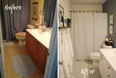 Long overdue, our guest bathroom finally got the bathroom makeover it needed. Check out this small bathroom makeover with before and after photos. Bathroom Kids, Bathroom Layout, Small Bathroom, Bathrooms, Ikea Butcher Block, Superhero Bathroom, Apartment Cleaning, Simple Furniture, Bathroom Inspiration