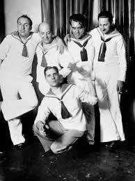 """(Buenos Aires,1934) Lorca con Neruda, Amado Villar, Jorge Larco y Raúl Gonzalez Tuñón en la presentación de Norah Lange """"45 días y 30 marineros"""""""