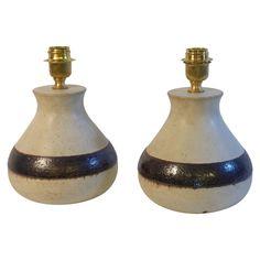 Bruno Gambone, Pair of Ceramic Lamps, Production Bruno Gambone, Italy