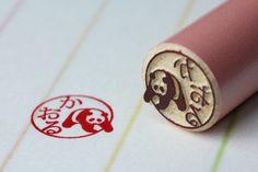 PANDA HANKO Japanese Stamp, Stamp Carving, Stamp Printing, Sewing Stitches, Kokeshi Dolls, Tampons, Wax Seals, Art Activities, Vintage Dolls