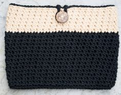 Black iPad Mini Case Crochet Tablet Cover made by deMarieandMarie