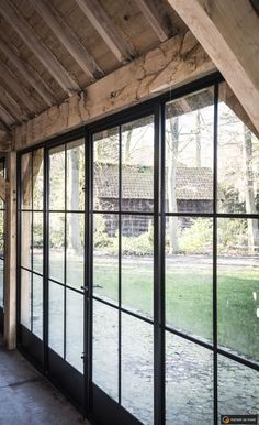 Wooden outbuildings, pool houses and garden rooms are therefore very popular. - Wooden outbuildings, pool houses and garden rooms are therefore very popular. You will find them in - Pole Barn House Plans, Pole Barn Homes, Steel Doors And Windows, Porch Windows, Metal Building Homes, Garden Studio, House Extensions, Iron Doors, Garden Office