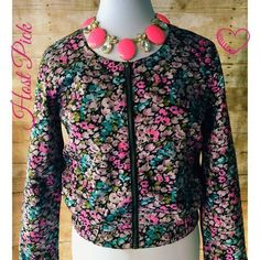 🌺HOST PICK🌺 Cute & Trendy Floral Bomber Jacket Adorable floral bomber in like new condition. Zip front & elastic cuffs & waist.🌺 Cotton On Jackets & Coats