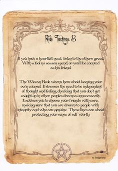 Rede Teachings 10 from my own Book of Shadows Dongemma Blessed Be Reiki, Wiccan Rede, Wicca Witchcraft, Wiccan Witch, Beltane, Book Of Shadows, Spelling, Religion, Prayers