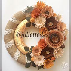 Fall Wreath, Felt Flowers Wreath, Halloween Decor, Fall Decor, Double Wreath by juliettesdesigntr on Etsy https://www.etsy.com/listing/537018750/fall-wreath-felt-flowers-wreath