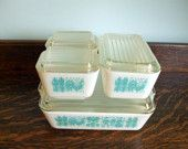 vintage pyrex casseroles, refrigerator dishes- amish butterprint