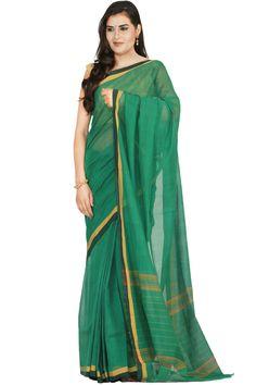 Green Venkatagiri Cotton Saree With Plain Design