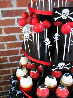 Pirate Theme cake pop and cupcake stand