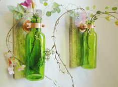 Colored Glass Bottle Trio Wall Decor each by PineknobsAndCrickets