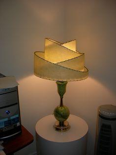 Cosmic 50's ceramic lamp with 4 tier Fiberglass shade.