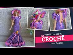 Watching video Crochet dress (+ hat) for dolls (portuguese/spanish) - Bhclip. Crochet Beret, Crochet Doll Pattern, Crochet Dolls, Crochet Clothes, Crochet Patterns, Barbie Clothes Patterns, Clothing Patterns, Doll Clothes, Cross Stitch Boards