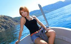 3000x2000 pix. Wallpaper girl, smile, model, sea, redhead, beauty, shirt, krestik, violla a