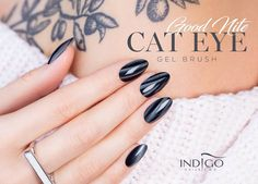 Cat Eye Good Nite Gel Brush by Kasia Wojtczak, Indigo Team Łódź Cat Eye Gel, Cat Eye Nails, Fall Nail Art, 3d Nail Art, Gel Nails, Manicure, Nail Polish, Dream Catcher Nails, Indigo Nails