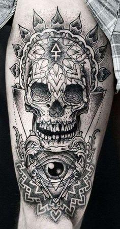 Tatuaggi uomo avambraccio - Tatuaggio avambraccio con teschio