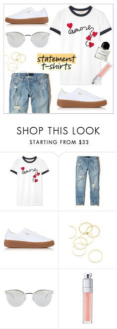 """""""""""amore"""" t-shirt"""" by lynksmichelle ❤ liked on Polyvore featuring Tory Burch, Hollister Co., Puma, A.V. Max, Fendi, Christian Dior, Byredo, chic, women and contestentry"""