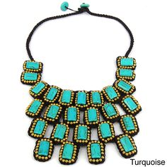 Mosaic Droplets Stone Statement Brass Necklace (Thailand) | Overstock.com Shopping - The Best Deals on Necklaces