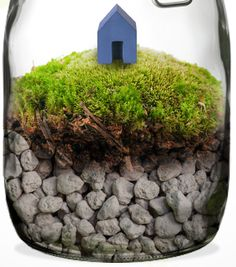 (IKEA | Time in a bottle)  -  for Connor to make with rocks and moss or seashells and a little paper cottage