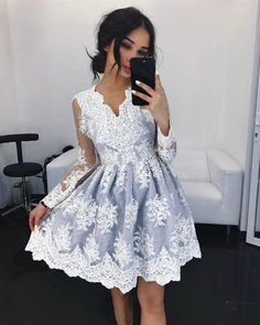 b6bccbc1d48 Elegant Pink Lace Homecoming Dresses Full Sleeve Lace Appliques Short Prom  Party Gowns Cocktail Dress