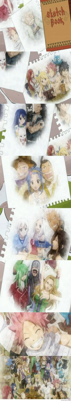 Fairy Tail-the drawings that we see on the episode when they all come back after 7 years on Tenrou Island