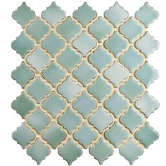 The SomerTile Antaeus Mint Green Porcelain Mosaic Floor and Wall Tile features the classic lantern design in beautiful shades of mint slightly lined with a hue of beige. Use this eleg Mosaic Tiles, Wall Tiles, Mosaic Art, Mosaics, Turquoise Tile, Online Tile Store, Bathrooms, Hall Bathroom, Bathroom Hardware