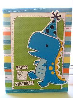 Scrap-Making: Dino Birthday! Birthday Cards For Niece, Birthday Cards For Mom, Happy 2nd Birthday, Funny Birthday Cards, Handmade Birthday Cards, Grandma Birthday, Handmade Cards, Boy Cards, Kids Cards