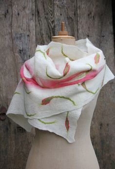 Elegant felted scarf, white with and pink and green leaf motif (nuno, by Ishild)