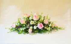 A small double ended spray of pink roses. - could be used as a top table design Funeral Flowers, Wedding Flowers, Funeral Tributes, Memorial Flowers, Sympathy Flowers, Flower Spray, Small Flowers, Pink Roses, Floral Arrangements