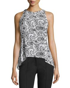 Stuart Sleeveless Henna Silk Top, Black/White, White/Black - A.L.C.