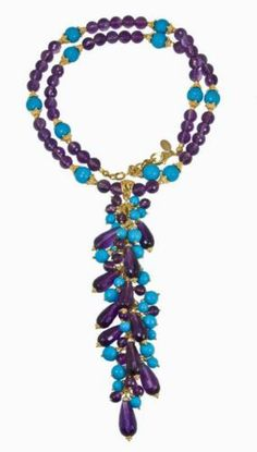 Outstanding Faceted Turquoise Amethyst Long Necklace | eBay
