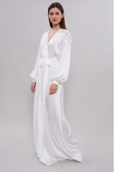 Dressing gowns · Long Silk Bridal Robe with Lace on Shoulders Bridal  Nightgown deefc91f1