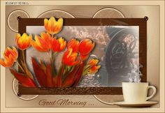 Good Morning with Yellow and Red Tulips and A Cup of Coffee GIF
