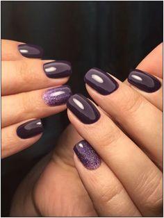 pretty nails for winter * pretty nails ; pretty nails for summer ; pretty nails for spring ; pretty nails for winter ; Plum Nails, Fancy Nails, Cute Nails, Pretty Nails, Dark Purple Nails, Dark Nails With Glitter, Neutral Nails, Purple Glitter, Winter Nail Art