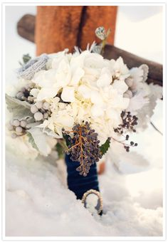 Winter Wedding Bouquet - Designed by Bare Root Flora. Bridal bouquet with blue privet berries, dusty miller and white flowers Floral Wedding, Wedding Bouquets, Wedding Flowers, Blue Wedding, Ribbon Wedding, Wedding Bells, Wedding Cake, White Spray Roses, White Hydrangeas