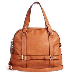 Bowling, anyone?: Relaxed bowler bag with detailed hardware, zipper top closure, front zipper pocket, top handles and removable shoulder strap. Also includes metal feet at bottom. Tote Handbags, Purses And Handbags, Leather Backpack, Leather Bag, Cute Bags, Beautiful Bags, Fashion Backpack, Diaper Bag, Fashion Accessories