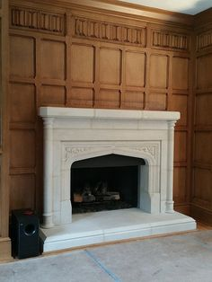 Tudor Library Quartersawn Oak Paneling Detail with Tudor Fireplace and Hidden TV Cabinet PANELING 2/3 COMMON