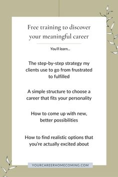 If you're feeling stagnant in your career, this free masterclass is going to help you out because you'll learn how to find the right career for you. A career that is a natural extension of who you are, and one that aligns with your soul. - career tips - career course - career coaching Finding The Right Career, Find A Career, Choosing A Career, Career Change, Find Work, Find A Job, Finding Purpose, List Of Jobs, Career Planning