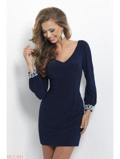 Low Open Back Elegant V-neck Black Cocktail Dress With Long Sleeves