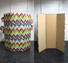 front and back of a cork board room divider DIY