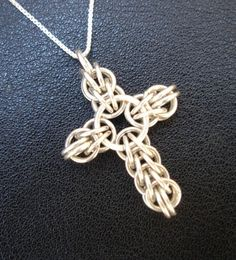 Sterling Silver Cross Necklace - Handmade Persian Chainmaille Weave