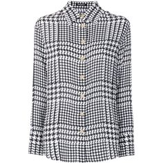 Balmain houndstooth print shirt (2.620 RON) ❤ liked on Polyvore featuring tops, blouses, black, silk shirt, collar top, long sleeve shirts, silk top and shirt top