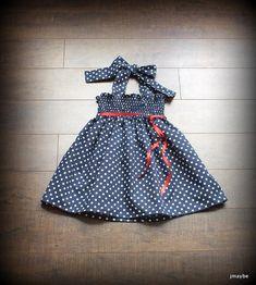 c0bc0379709 Custom Navy Blue   White Polka Dot Smocked Sundress by Steady As She Goes  baby girl toddler 0 3 6 12 18 24 mo 2T retro halter patriotic red