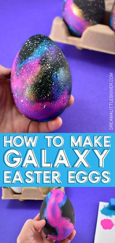 These galaxy Easter eggs are easy to make and look out of this world. Get a great step-by-step photo tutorial AND a video tutorial to make your own! Egg Crafts, Easter Crafts For Kids, Diy For Kids, Easter Ideas, Easter Decor, Easter Dyi, Cool Easter Eggs, Easter Bunny, Galaxy Easter Eggs