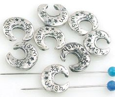 8 Moon 2 Hole Slider Beads 11233 by MobileBoutiqueshop on Etsy