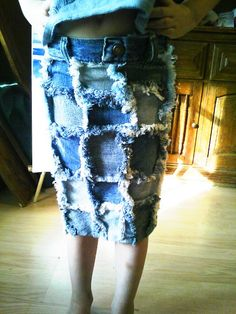 Denim Rag Quilt Pencil Skirt - We have a full-blown fashion emergency on our hands!