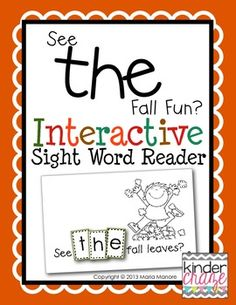 """Interactive Sight Word Reader """"See THE Fall Fun?"""" (many other readers available) $ tpt"""