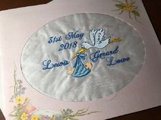 Sampler/Patch made up into a Card - New Baby.