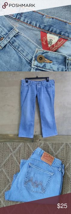 "Lucky Brand Jeans SZ 10 Lucky Brand Jeans SZ 10 *Rise 20"" * Inseam 25"" * Leg opening 9"" Candy crop 100% cotton Lucky Brand Jeans"