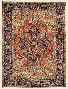 "Antique Circa 1900 High-Decorative Northwest Persian Heriz Rug 8' 2"" x 11' 1"" —Price: $18,000- Claremont Rug Company"