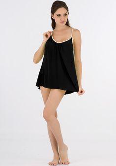 Silk women nightwear babydolls--d-black babydolls #Silk #babydolls | Revesilk.com
